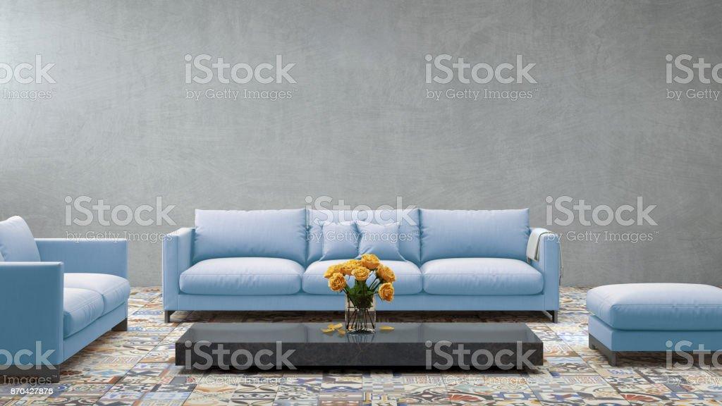 Photo libre de droit de Sofa De Pastel Bleu Moderne En Face ...