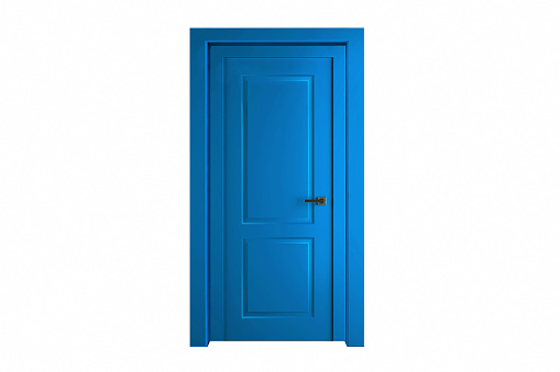 Modern blue room door isolated on white background.