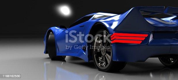 The modern blue sports car ,3d ,render.