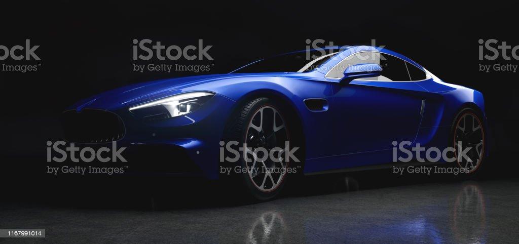 Moderner blauer Sportwagen in sanftem Licht auf schwarzem Hintergrund - Lizenzfrei Allgemein Stock-Foto