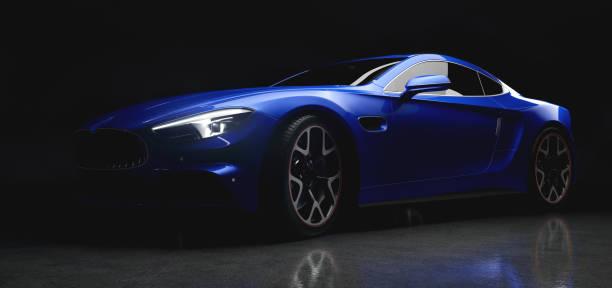 moderna auto sportiva blu in una luce delicata su sfondo nero - auto foto e immagini stock