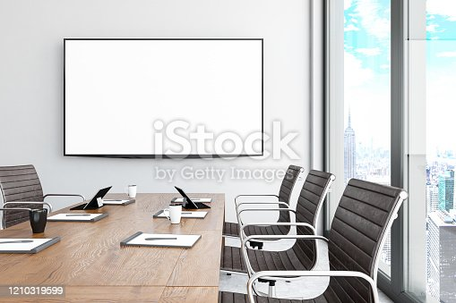 Modern Board Room with Blank TV Screen. 3d Render