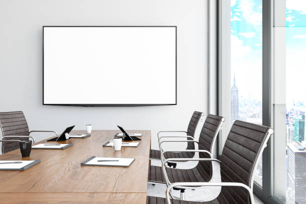 Modern Board Room with Blank TV Screen Modern Board Room with Blank TV Screen. 3d Render board room stock pictures, royalty-free photos & images