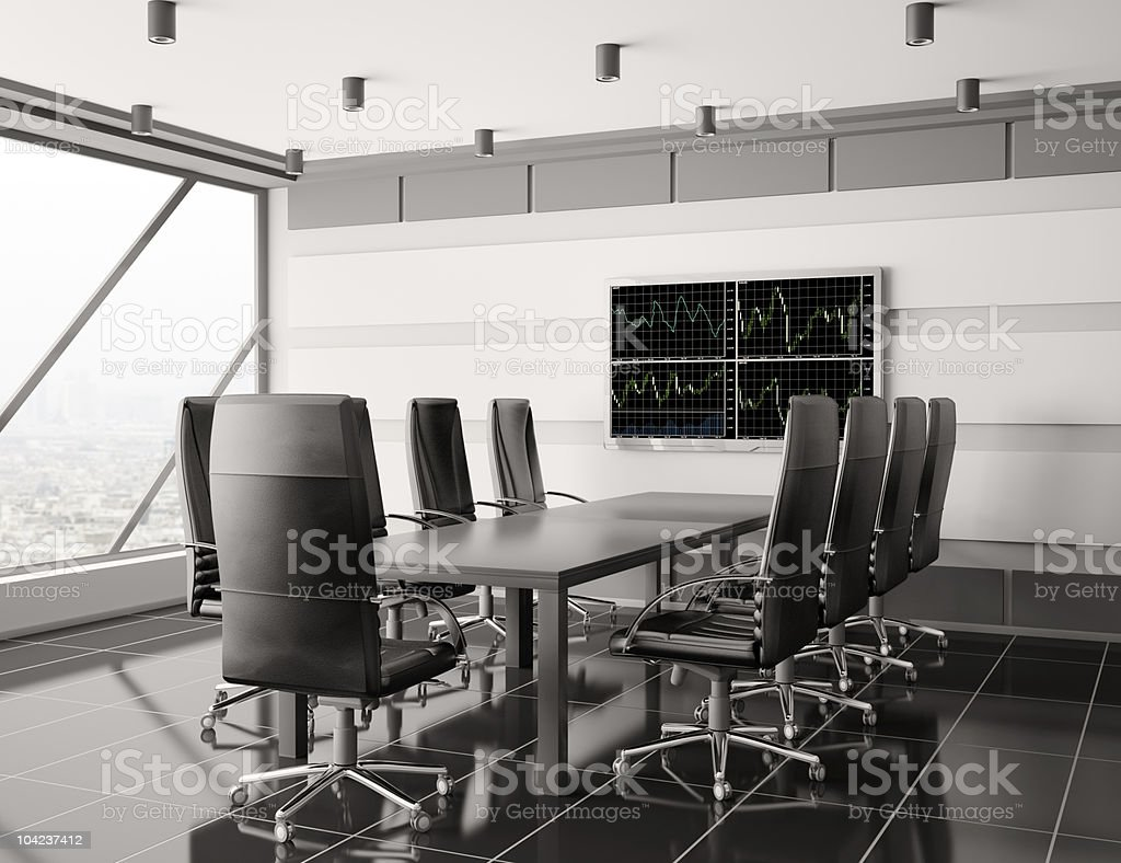 Modern boardroom with lcd interior 3d royalty-free stock photo