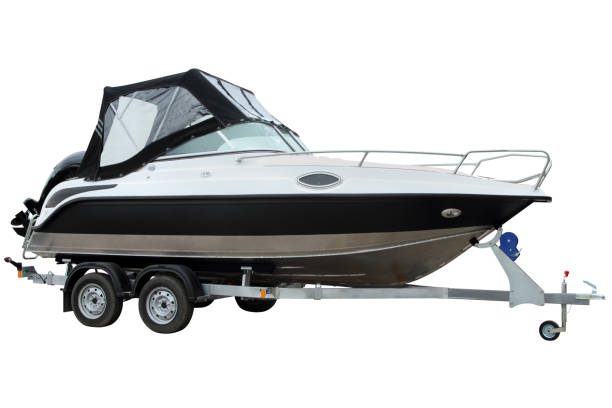 Modern boat with canvas top. stock photo