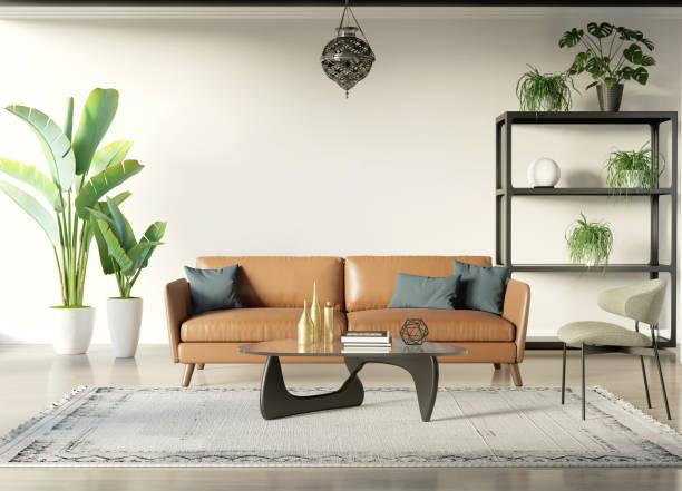 Modern bohemian style interior room with tobacco sofa stock photo
