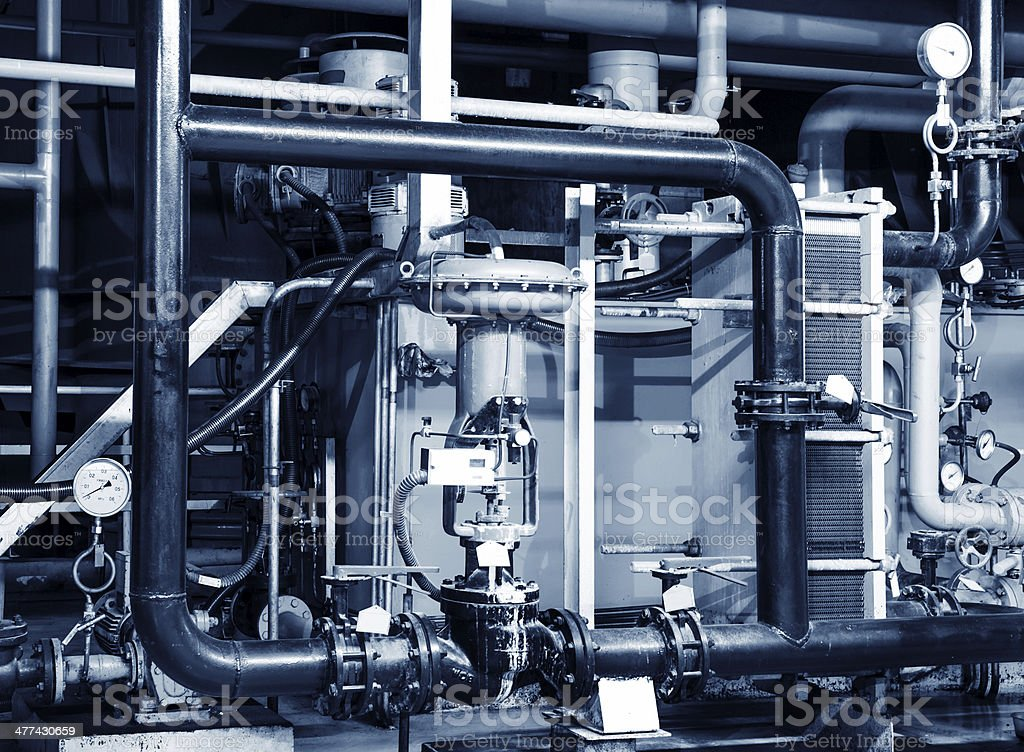 Modern boiler room equipment for heating system stock photo