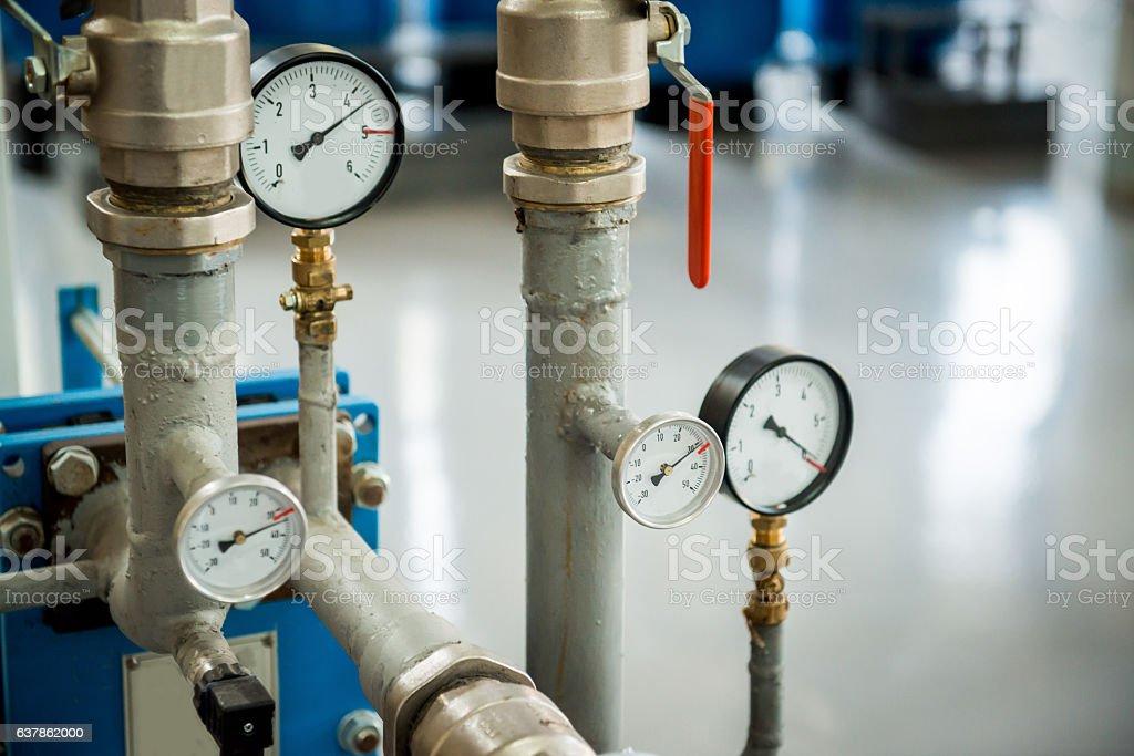 Modern boiler room equipment- high power  burner stock photo