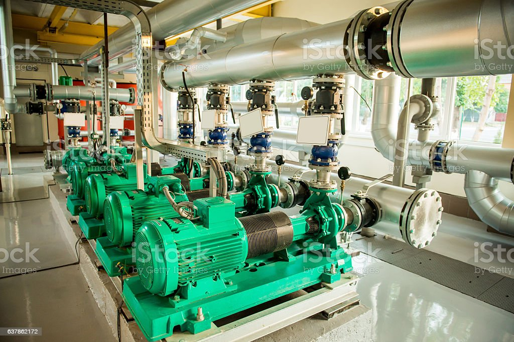 Modern boiler room equipment- high power  burner stock photo