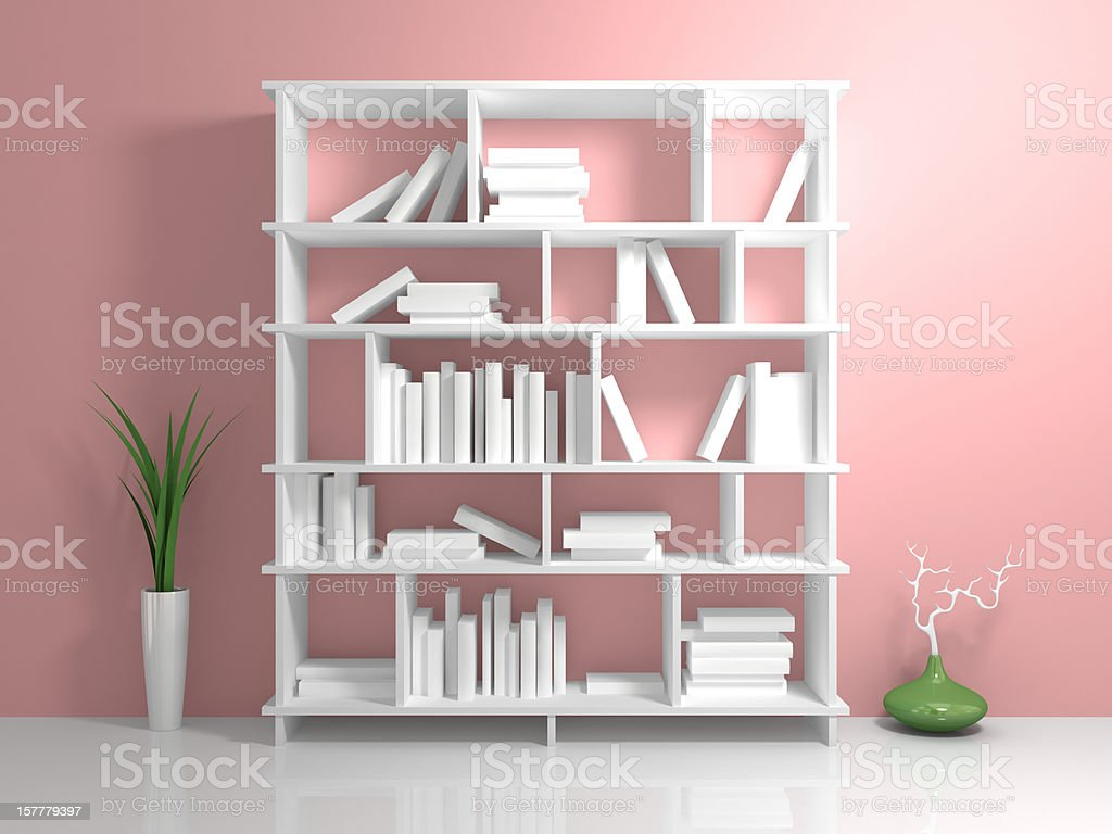 Modern bookshelf with a white books against pink wall. royalty-free stock photo
