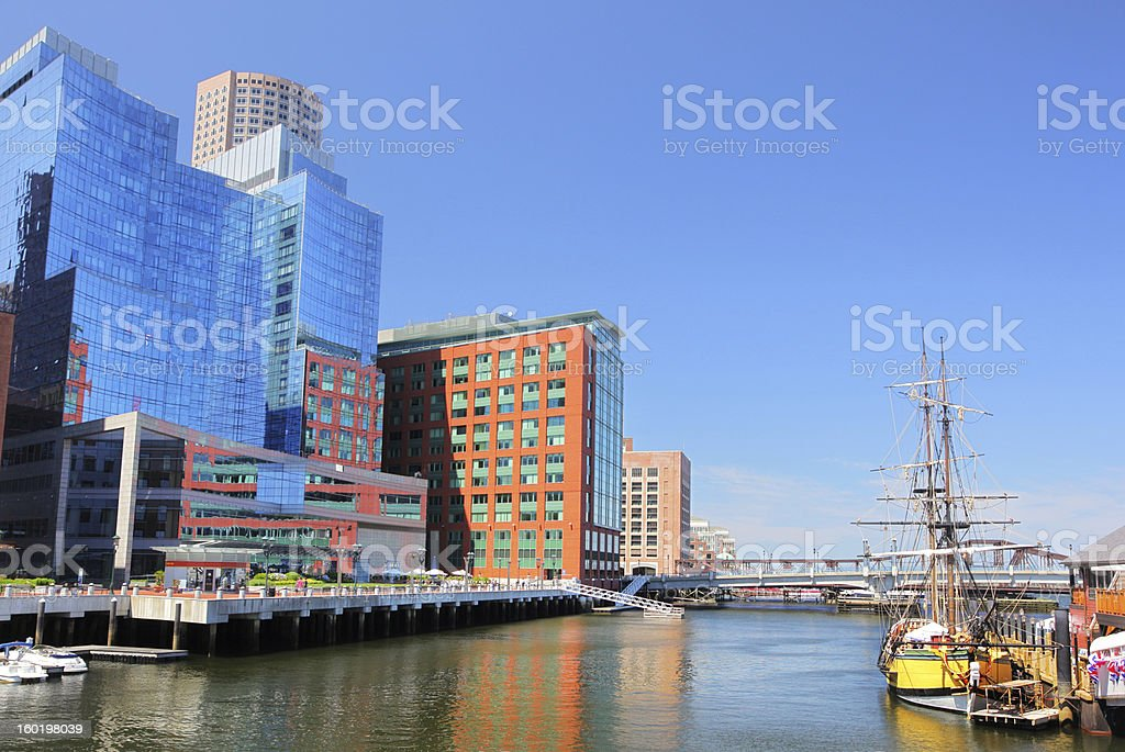 Modern Boston Riverside Buildings stock photo