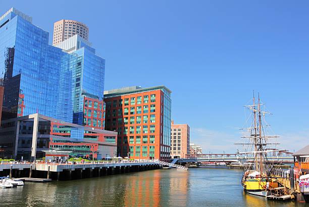 Modern Boston Riverside Buildings stock photo