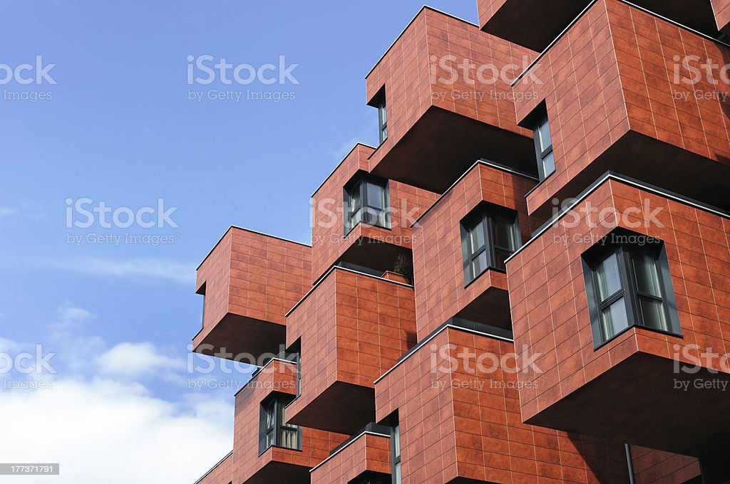 Modern boxlike building in Vienna, Austria stock photo