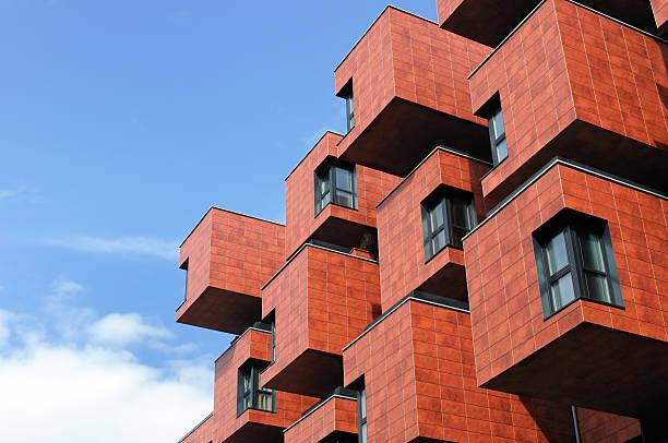 Modern boxlike building in Vienna, Austria stock photo