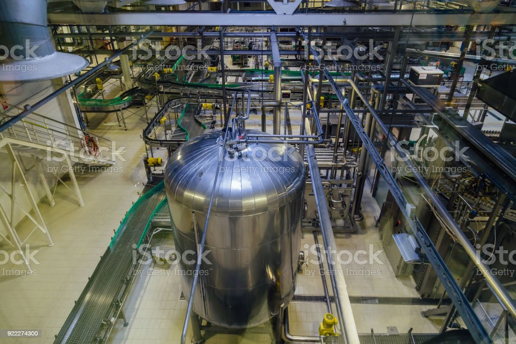 Modern Brewery Production Line. Large Vat For Beer Fermentation And  Maturation. Top View Royalty
