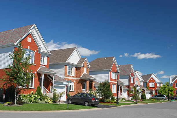 Modern Brick Home Neighborhood  medium group of objects stock pictures, royalty-free photos & images