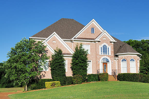 A modern brick single family home in Brentwood, Tennessee  stock photo