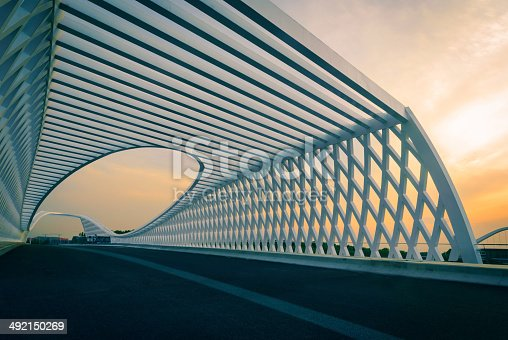 Modern bridge in the sunset
