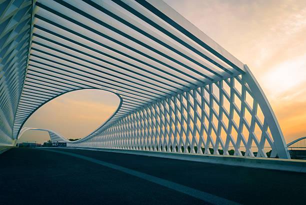 modern bridge in the sunset - köprü stok fotoğraflar ve resimler