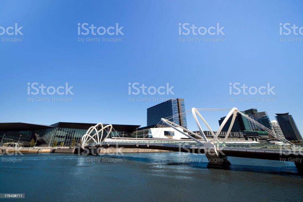 Modern bridge in Yarra River stock photo