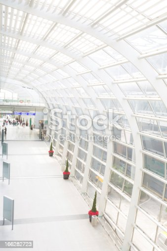 istock Modern Bright Airport with X'mas Decoration 166282723