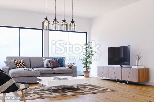 Interior of a modern, bright and airy living room.