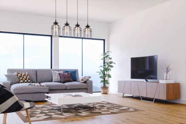 モダン、明るく風通しの良いスカンジナビアデザインのリビングルーム - ソファ 無人 ストックフォトと画像