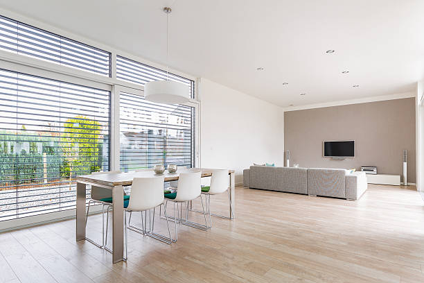 modern bright dining-room - blinds stock pictures, royalty-free photos & images