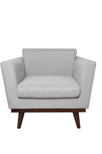 Modern Bright Grey Fabric Armchair With Wooden Legs Isolated On White Background Strict Style Furniture Stock Photo Download Image Now Istock