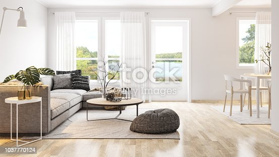 Modern bright interior. Render image.
