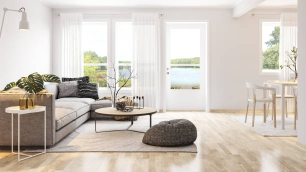 Modern bright interior Modern bright interior. Render image. modern house stock pictures, royalty-free photos & images
