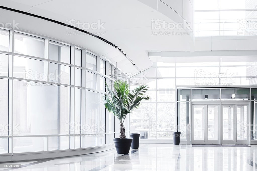 bright office. Modern Bright Office Entrance Stock Photo