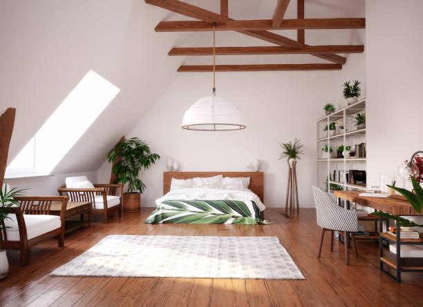 moderne, heldere, open ruimte interieur in zolder - loft stockfoto's en -beelden