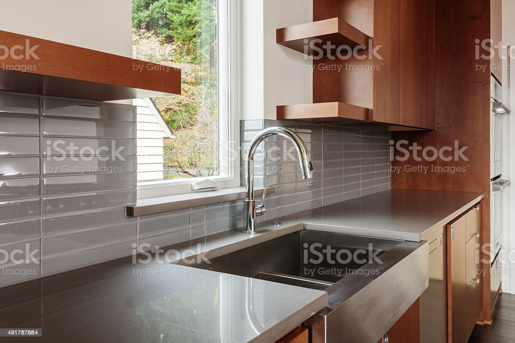 Modern bright sleek kitchen stock photo
