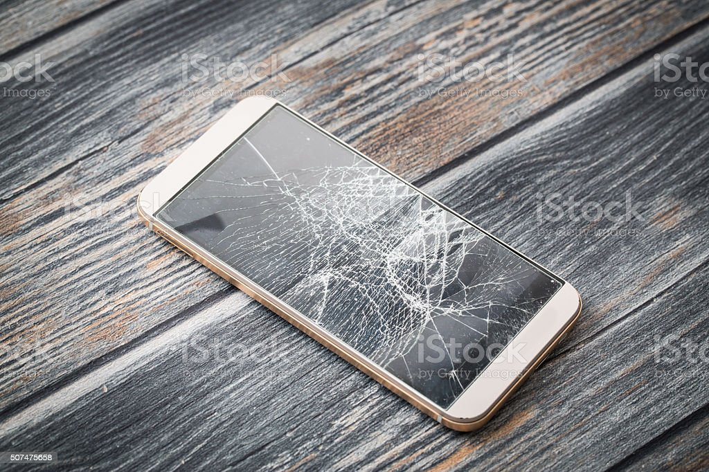 Modern broken mobile phone. stock photo