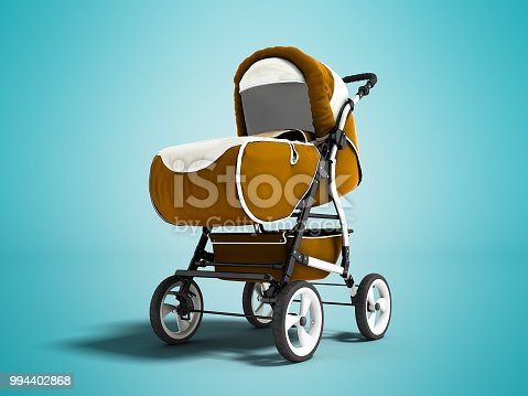 istock Modern brown baby carriage for any weather with white inserts 3d render on blue background with shadow 994402868