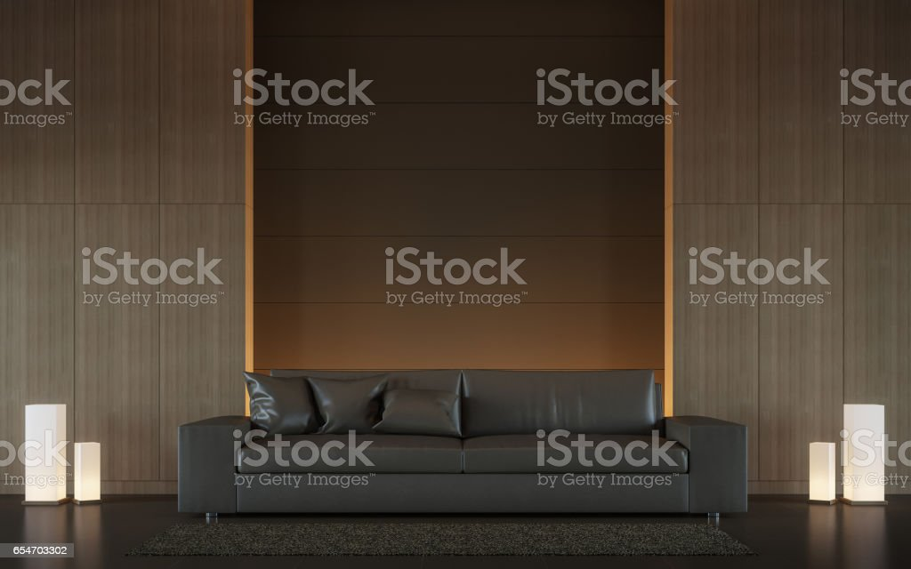 Modern brown living room interior minimal style 3d rendering image stock photo