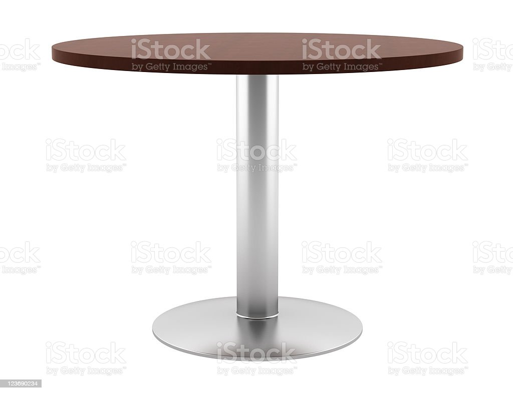modern brown wooden round table isolated on white background royalty-free stock photo