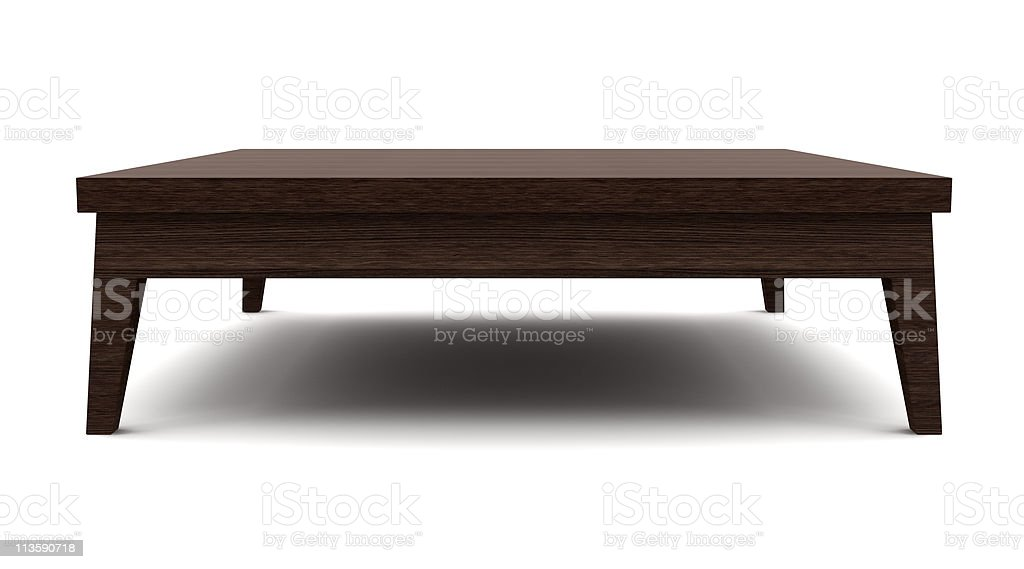 modern brown wooden table isolated on white background stock photo