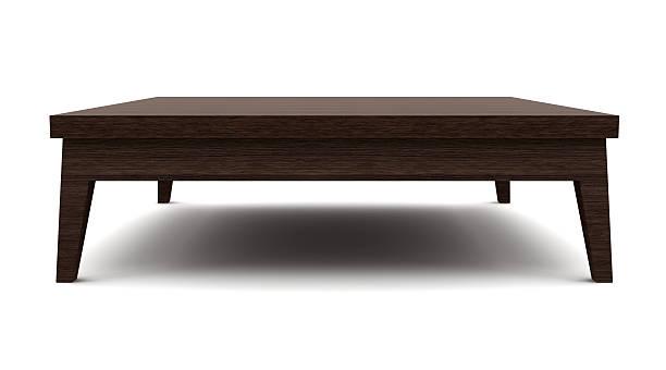 moderna mesa de madeira marrom isolada no fundo branco - coffee table imagens e fotografias de stock