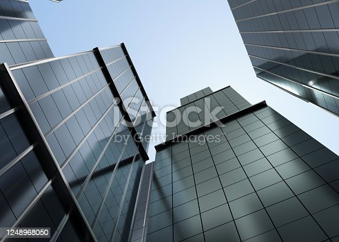 modern, building, skyscrapers, 3d rendering, up