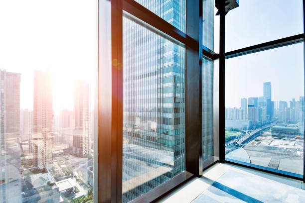 Modern building and cityscape outside the window stock photo