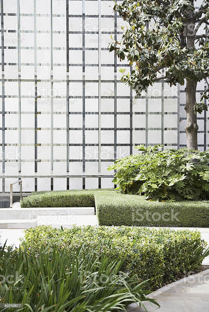 Modern building and courtyard stock photo