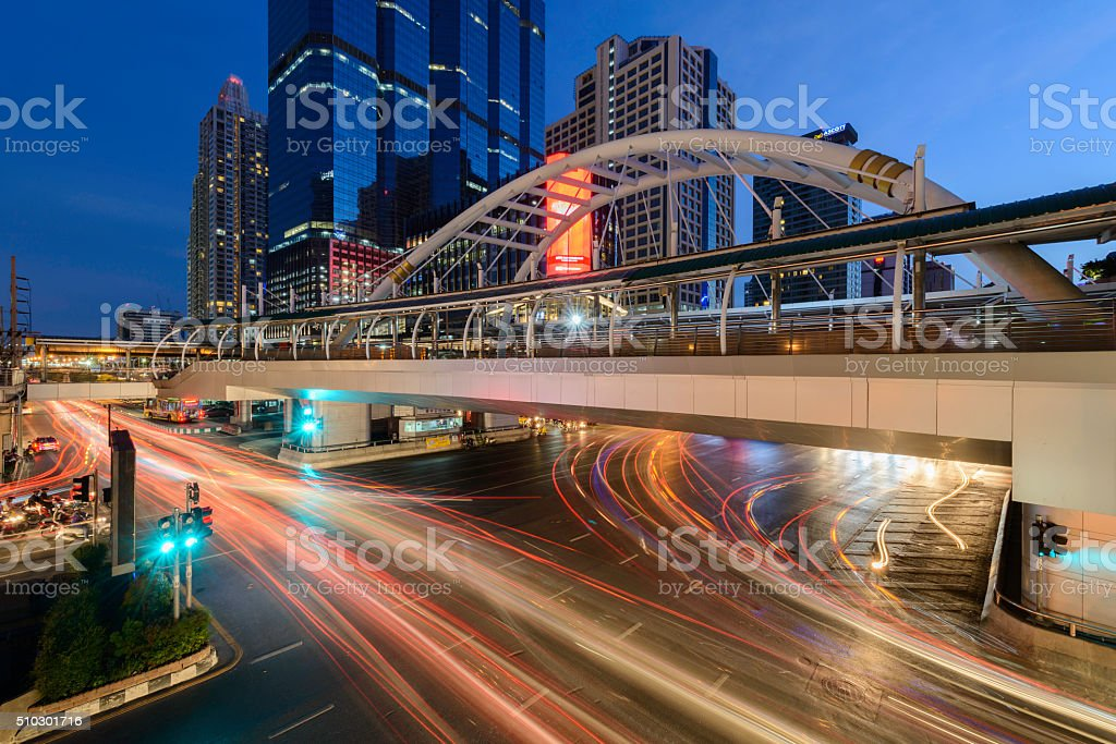Modern building at night. Traffic in the business district The Skytrain royalty-free stock photo