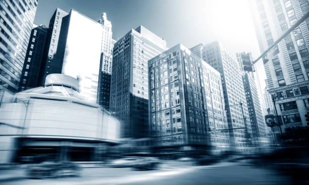 Modern building background with cars in CHICAGO USA / City concept (Click for more) stock photo
