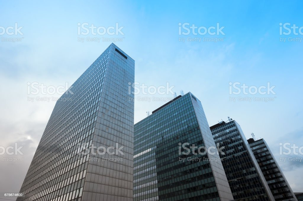 Modern building, blue sky and sunset stock photo