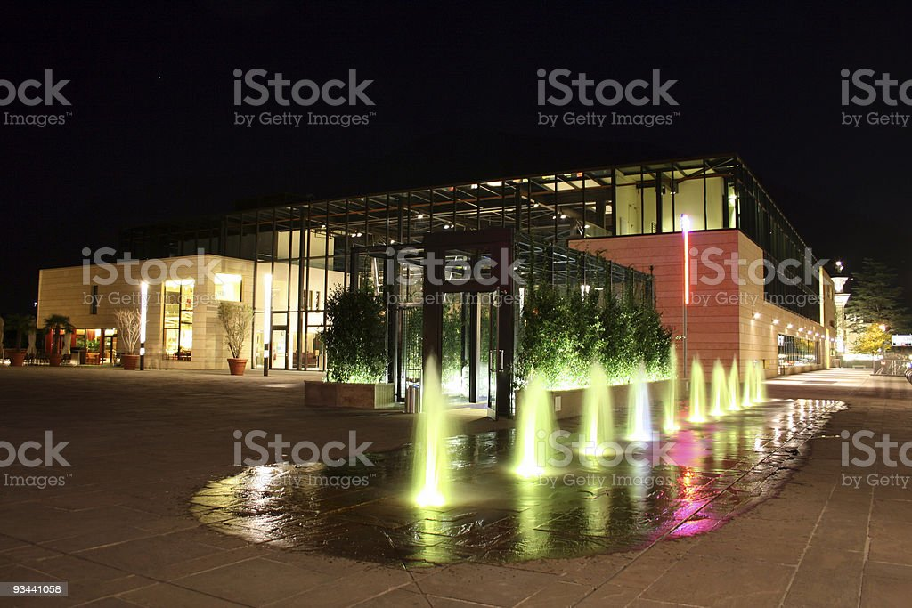 Modern building by night royalty-free stock photo