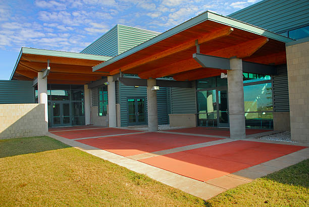 Modern Building Entry Entryway to a community center community center stock pictures, royalty-free photos & images