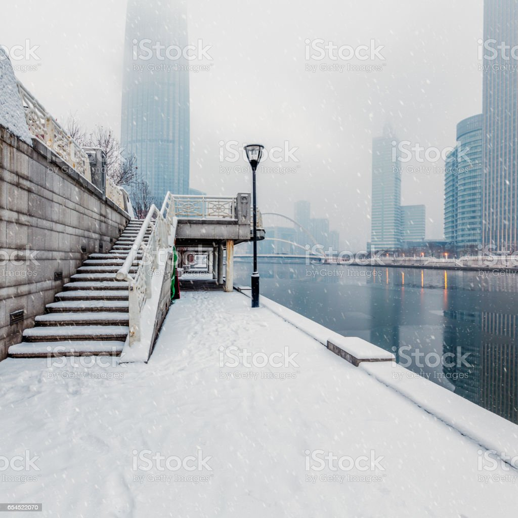 Modern building exterior and empty square floor stock photo