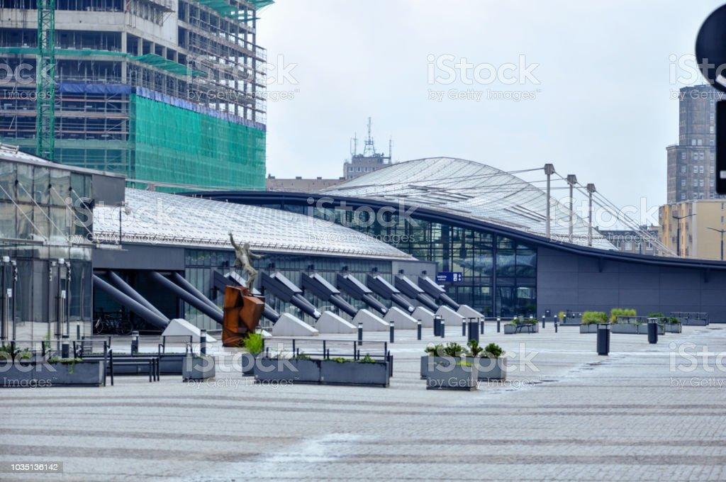 Modern building exterior of railroad station - Łódź Fabryczna